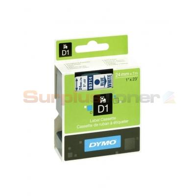 """10pk Blue on White Tape Label Compatible for DYMO 53714 D1 24mm 1/"""""""