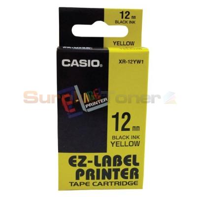 CASIO EZ-LABEL TAPE CARTRIDGE BLACK/YELLOW 12MM Genuine Original Casio Part No.: XR-12YW1