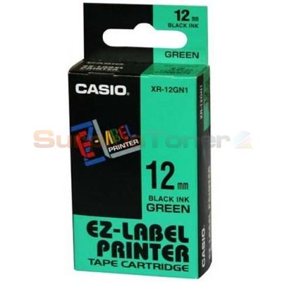 CASIO EZ-LABEL TAPE CARTRIDGE BLACK/GREEN 12MM Genuine Original Casio Part No.: XR-12GN1