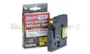 BROTHER TZ EXTRA-STRENGTH TAPE BLACK/YELLOW 1/4IN (TZ-S611)