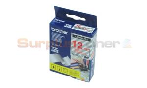 BROTHER TZ LAMINATED TAPE RED ON CLEAR 12MM X 8M (TZ-132)