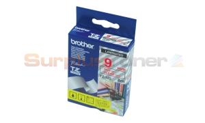 BROTHER TZ LAMINATED TAPE RED ON CLEAR 9MM X 8M (TZ-122)