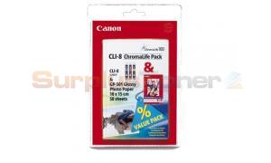 CANON PIXMA IP4200 CLI-8 INK AND 50SH PHOTO PAPER CMY (0621B015)