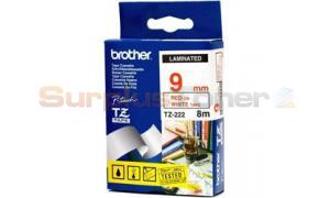 BROTHER P-TOUCH TAPE RED ON WHITE (TZ-222)