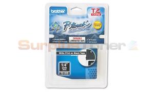 BROTHER TZ TAPE CTG WHITE ON BLACK 1/4IN WIDTH (TZ-315)