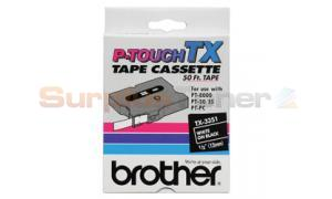 BROTHER TX TAPE WHITE ON BLACK 12 MM X 15 M (TX-3351)