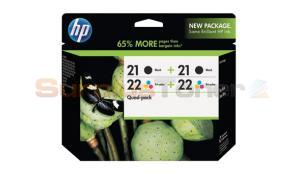 HP NO 21 22 INK CARTRIDGE BLACK AND TRI-COLOR QUAD-PACK (CD946FN)