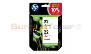 HP NO 22 INK CARTRIDGE TRI-COLOR TWIN-PACK (SD429AN)
