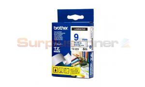 BROTHER TZ LAMINATED TAPE BLUE ON WHITE 9MM X 8M (TZ-223)