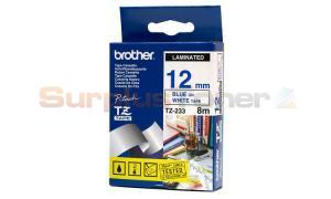 BROTHER TZ LAMINATED TAPE BLUE ON WHITE 12MM X 8M (TZ-233)