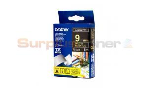 BROTHER TZ LAMINATED TAPE GOLD ON BLACK 9MM X 8M (TZ-324)
