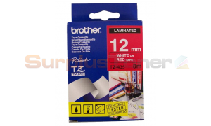 BROTHER TZ LAMINATED TAPE WHITE ON RED 12MM X 8M (TZ-435)