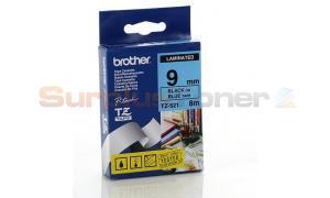 BROTHER TZ LAMINATED TAPE BLACK ON BLUE 9MM X 8M (TZ-521)