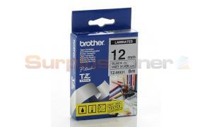BROTHER TZ LAMINATED TAPE BLACK ON MATT SILVER 12MM X 8M (TZ-M931)