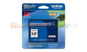 BROTHER TZ LAMINATED TAPE BLACK ON CLEAR 0.35 IN X 26.2 FT (TZE-121)