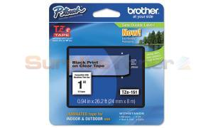 BROTHER TZ LAMINATED TAPE BLACK ON CLEAR 0.94 IN X 26.2 FT (TZE-151)