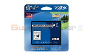 BROTHER TZ LAMINATED TAPE BLACK ON WHITE 0.23 IN X 26.2 FT (TZE-211)