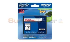 BROTHER TZ LAMINATED TAPE RED ON WHITE 0.47 IN X 26.2 FT (TZE-232)