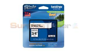 BROTHER TZ LAMINATED TAPE BLACK ON WHITE 0.7 IN X 26.2 FT (TZE-241)