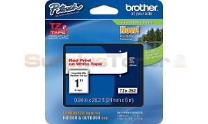 BROTHER TZ LAMINATED TAPE RED ON WHITE 0.94 IN X 26.2 FT (TZE-252)