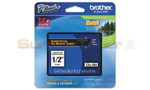 BROTHER TZ LAMINATED TAPE GOLD ON BLACK 0.47 IN X 26.2 FT (TZE-334)