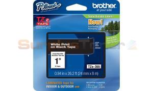 BROTHER TZ LAMINATED TAPE WHITE ON BLACK 0.94 IN X 26.2 FT (TZE-355)