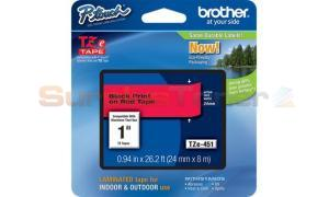 BROTHER TZ LAMINATED TAPE BLACK ON RED 0.94 IN X 26.2 FT (TZE-451)