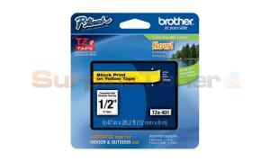 BROTHER TZ LAMINATED TAPE BLACK ON YELLOW 0.47 IN X 26.2 FT (TZE-631)