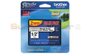 BROTHER TZ LAMINATED TAPE BLACK ON WHITE VALUE PACK (TZE-2312PK)