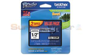 BROTHER TZ LAMINATED TAPE BLACK ON WHITE VALUE PACK (TZE-1312PK)