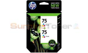 HP NO 75 INK CARTRIDGE TRI-COLOR TWIN PACK (CZ070FN)