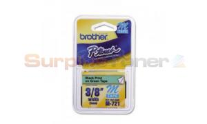 BROTHER PT-100 TAPE BLACK ON GREEN (9MM X 8M) (M-721)