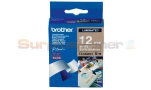 BROTHER TZ TAPE WHITE ON SATIN GOLD 12 MM X 5 M (TZ-MQ835)