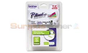 BROTHER TZ LAMINATED TAPE WHITE ON LIME GREEN 12 MM X 5 M (TZ-MQG35)