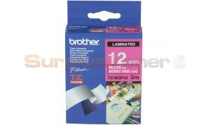 BROTHER TZ LAMINATED TAPE WHITE ON BERRY PINK 12 MM X 5 M (TZ-MQP35)