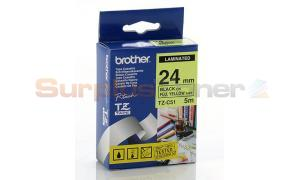 BROTHER TZ LAMINATED TAPE BLACK ON FLUORESCENT YELLOW 24 MM X 5 M (TZ-C51)