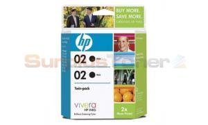 HP NO 02 INK CARTRIDGE BLACK TWIN-PACK (C9500BN)
