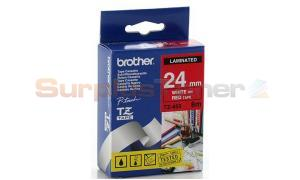 BROTHER TZ LAMINATED TAPE WHITE ON RED 24 MM X 8 M (TZ-455)
