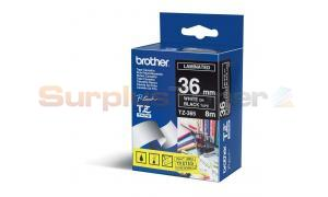 BROTHER TZ LAMINATED TAPE WHITE ON BLACK 36 MM X 8 M (TZ-365)