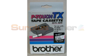 BROTHER P-TOUCH TAPE BLACK LETTERING (1/2 X 50) (TX-0311)