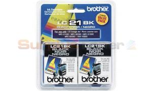 BROTHER LC21 BLACK INK 2 PACK (LC21BK2PKS)