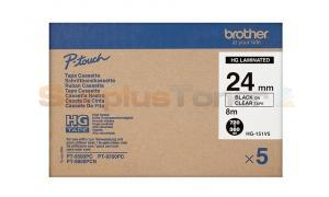 BROTHER PT-9500PC LAMINATED TAPE BLACK ON CLEAR 24 MM X 8 M (HG-151V5)