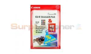 CANON CLI-8 INK TANK CMY/GP-501 PAPER VALUE PACK (0621B030)