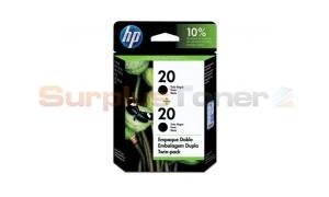 HP NO 20 INKJET PRINT CART BLACK TWIN PACK (C8798FL)