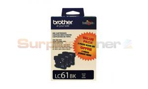 BROTHER DCP165C INK CART BLACK TRI-PACK (LC-61BK3PKS)