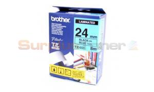 BROTHER TZ LAMINATED TAPE BLACK ON BLUE 24MM X 8M (TZ-551)