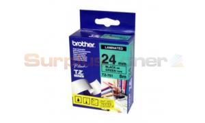 BROTHER TZ LAMINATED TAPE BLACK ON GREEN 24MM X 8M (TZ-751)