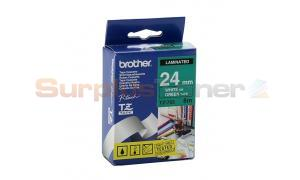 BROTHER TZ LAMINATED TAPE WHITE ON GREEN 24MM X 8M (TZ-755)