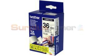 BROTHER TZ LAMINATED TAPE BLACK ON WHITE 36 MM X 8 M (TZ-261)