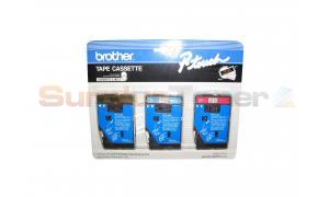 BROTHER P-TOUCH TAPE RED ON WHITE/BLUE ON WHITE/GOLD ON BLACK (1/2